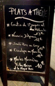 menu board Calais